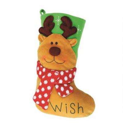 Image of Promotional Reindeer Stocking. Plush 3D Christmas Stocking
