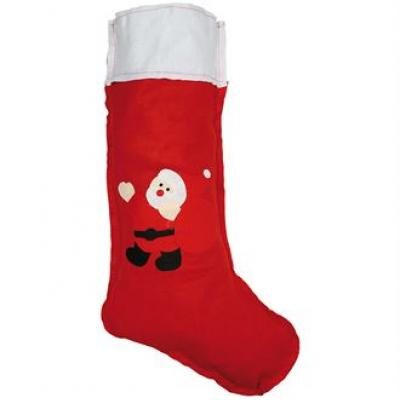 Image of Printed Large Christmas Stocking. Red Felt Stocking With Drawstring.