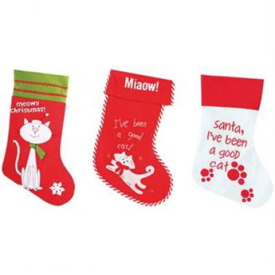 Image of Promotional Cats Christmas Stocking. Printed Pets Xmas Stocking.