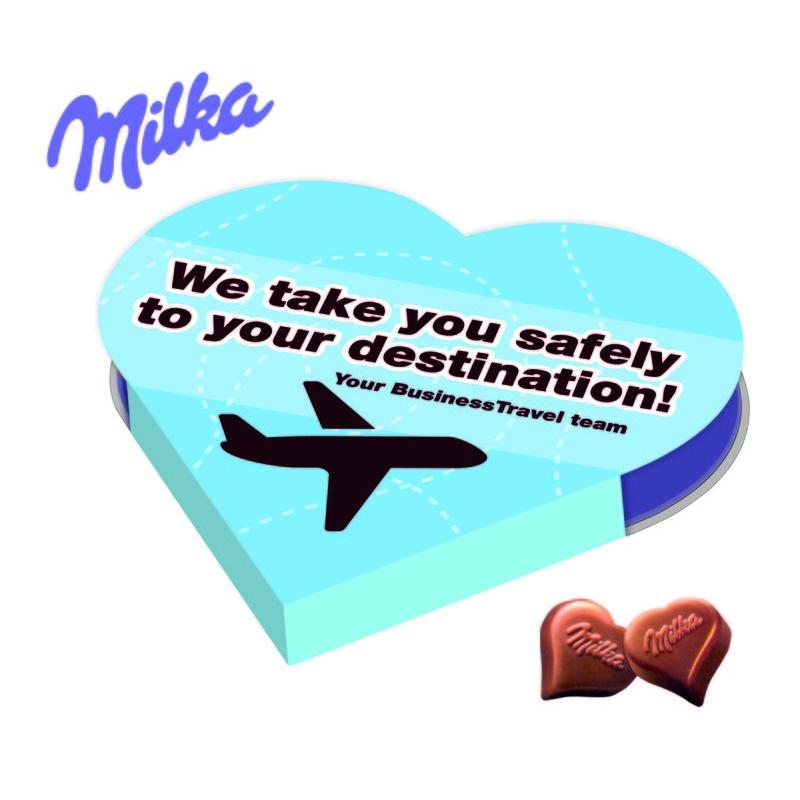 Promotional Milka Heart Shaped Chocolates Presented In A