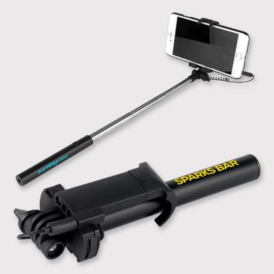 Image of Printed Handle Black Compact Selfie Stick - Branded Selfie Stick Express Service