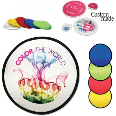Image of Promotional Nylon Frisbee With Pouch. Foldable Frisbee With Full Colour Print