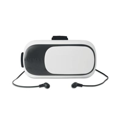 Image of Promotional VR Headset With Earphones. Virtual Realty Glasses With Built In Bluetooth Headphones