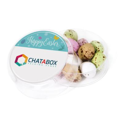 Image of Promotional Easter Mini Chocolate Eggs Presented In A Clear Round Pot