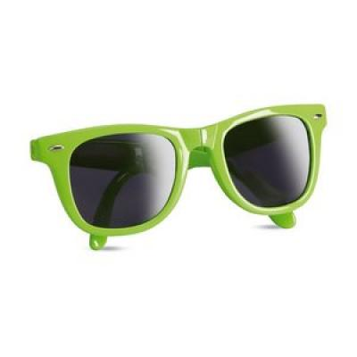 Image of Printed foldable sun glasses. Retro Lime green