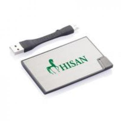 Image of Promotional Credit Card Charger Silver Ultra Thin Power Banks.1500mAh