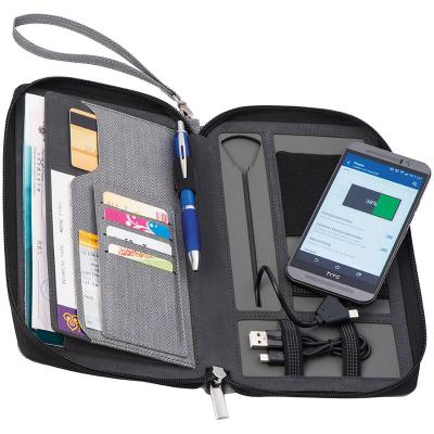 Image of Printed Travel Portfolio Business Folder With Integrated Power Bank