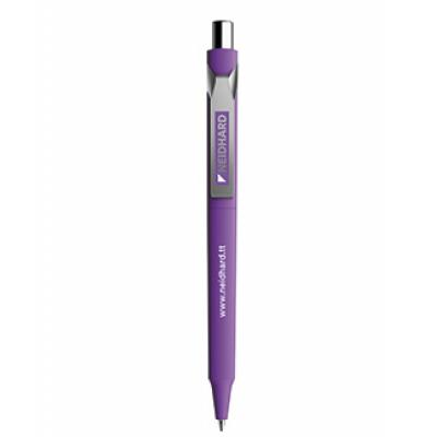 Image of Printed Prodir DS10 Soft Touch Pen With Metal Clip and Button. Purple