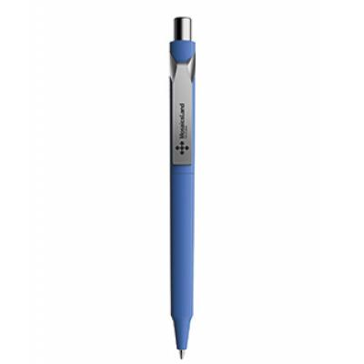 Image of Branded Prodir DS10 Soft Touch Pen In Contemporary Colours And Metal Clip. Blue