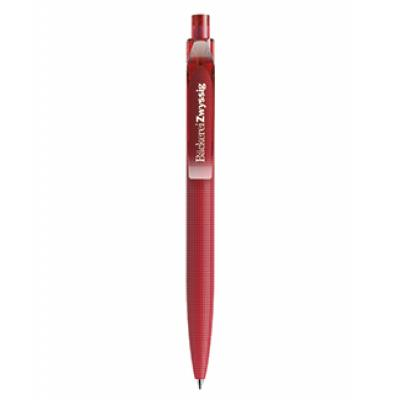 Image of Branded Prodir QS02. New Patterned Prodir Pen In Matt Red With Transparent Clip