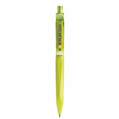 Image of Branded Prodir QS20. The 3D Peak Pen. Matt Lime Green With Transparent Clip And Button.