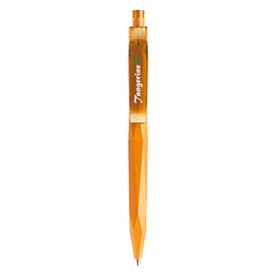 Image of Printed Prodir Peak Pen. QS20 In Soft Touch Orange With Transparent Clip