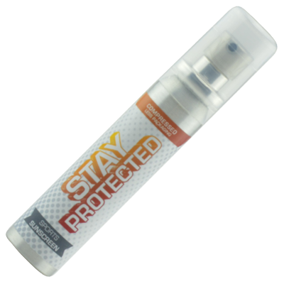 Image of Full Colour Printed Sun Lotion In 25ml Spray Bottle. Sun Screen SPF 20