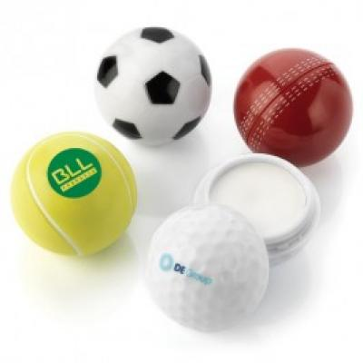 Image of Branded Sports Ball Shaped Sun Lotion. Sun Screen With Full Colour Print