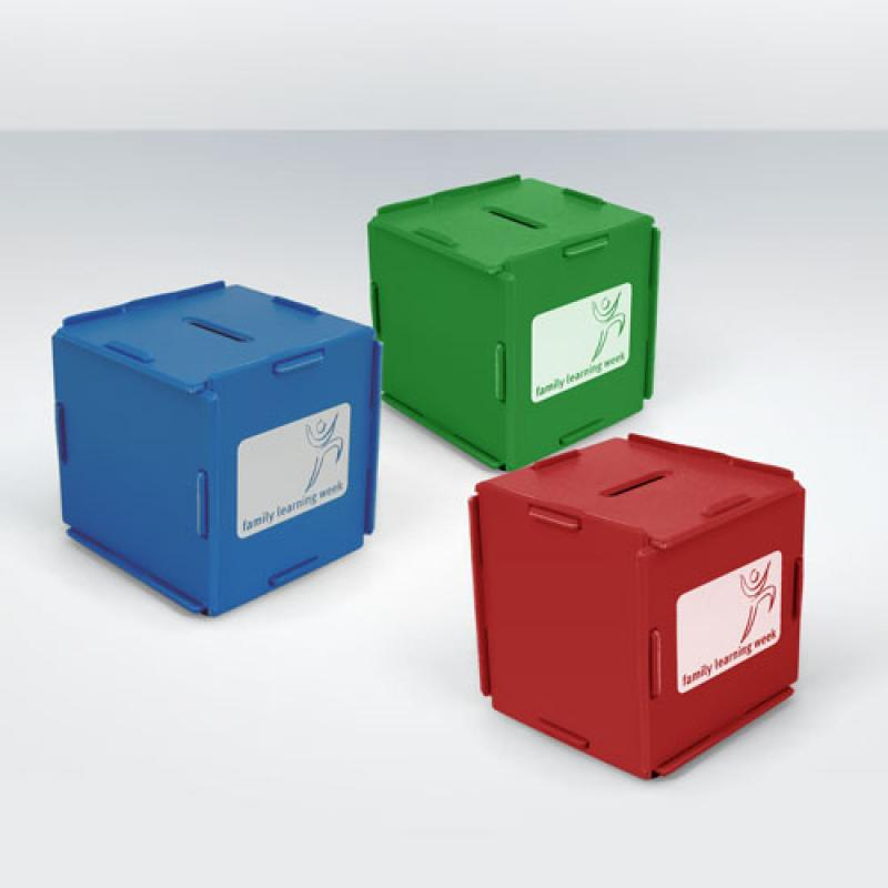 promotional recycled money box cube recycled material