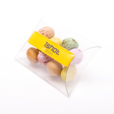 Nets of easter eggs promobrand promotional merchandise london image of full colour printed large pouch filled with speckled chocolate eggs negle Image collections