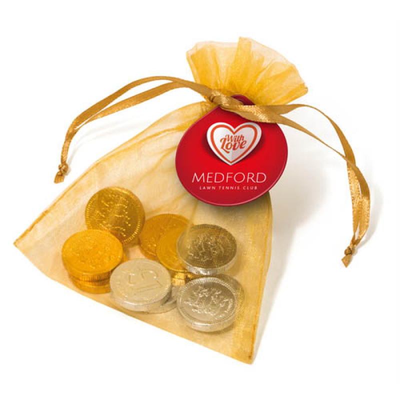 Promotional organza bag filled with chocolate coins chocolate promotional organza bag filled with chocolate coins spiritdancerdesigns