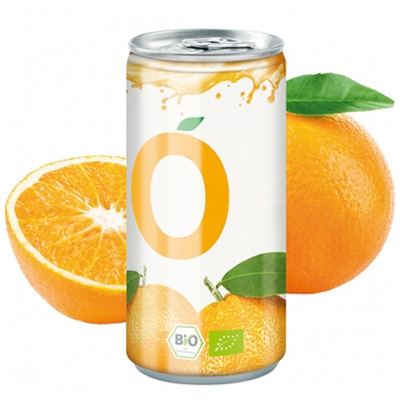 Image of Full Colour Printed Canned Organic Orange Juice.