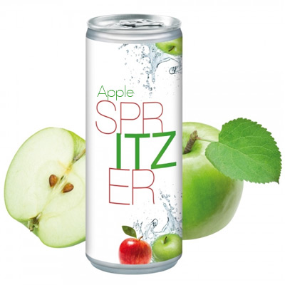 Image of Full Colour Printed Apple Spritzer Canned Drink. 250ml