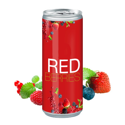 Image of Branded Canned Red Berry Juice. Full Colour Print