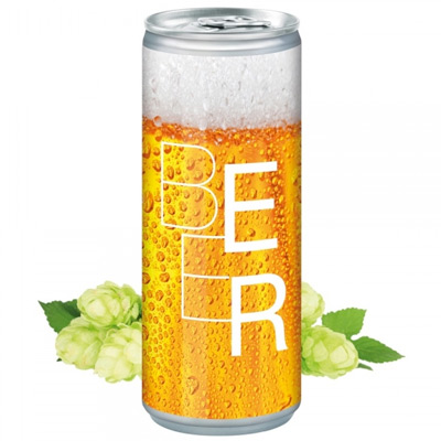 Image of Full Colour Printed Can Of Beer. 250 ml