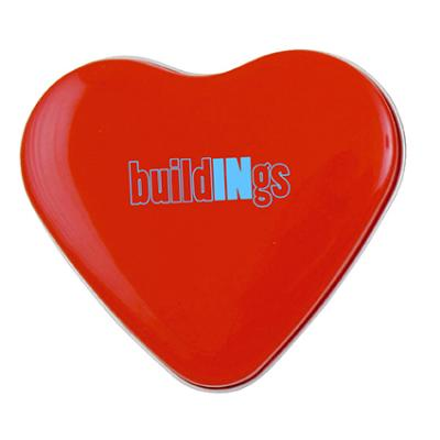 Image of Full Colour Printed Heart Tin Filled With Heart Shaped Sweets.