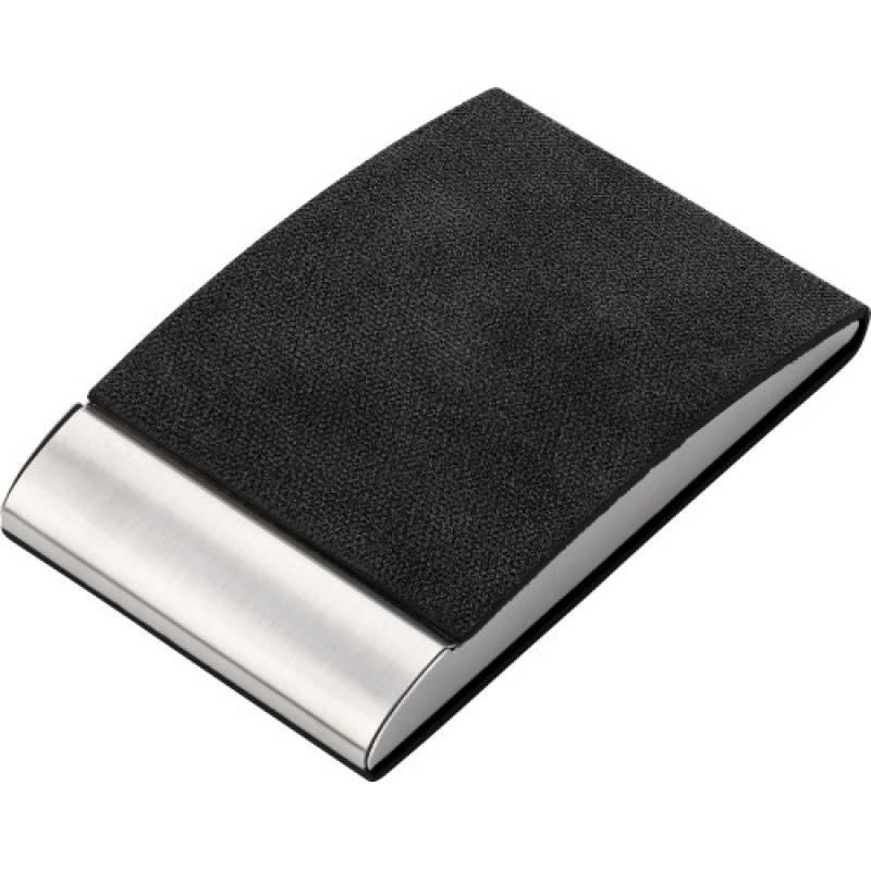 Vertical, curved business card holder with PU finish, magnet closing ...