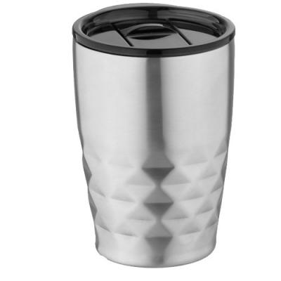 Image of Branded Geo Insulated Reusable Mug, Silver