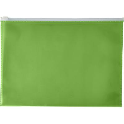 Image of Branded A4 Transparent PVC document folder green