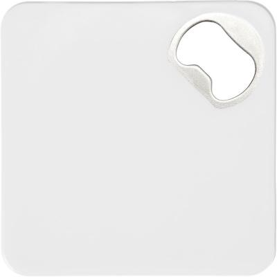 Image of Full colour printed HIPS Coaster with bottle opener and anti-slip bottom in white