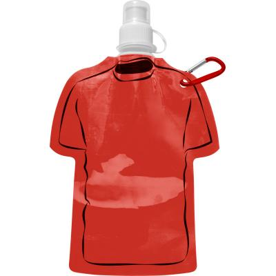 Image of Printed  Football Themed Folable Bottle, Reusable T Shirt Bottle Red.