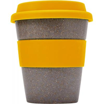 Image of Promotional Bamboo Reusable Coffee Cup With Orange Band and Lid 350ml