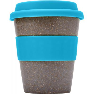 Image of Printed ECO Bamboo Fibre Coffee Cup With Light Blue Band and Lid. 350ml