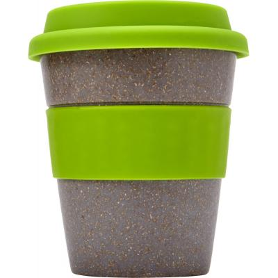 Image of Printed Bamboo Reusable Coffee Cup With Lime Green Band and Lid. 350ml