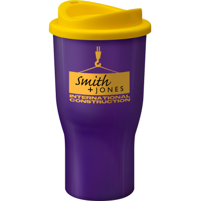 Image of Promotional Challenger reusable coffee tumbler, Purple. BPA Free