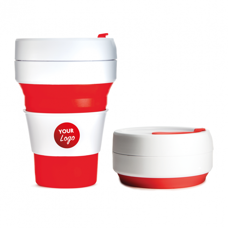 promotional stojo collapsible coffee cup red reusable mug. Black Bedroom Furniture Sets. Home Design Ideas