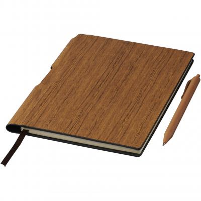 Image of Promotional Bardi A5 notebook with wood look design and matching pen