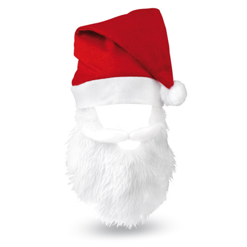 Promotional Christmas Red Santa Hat With White Moustache and Beard b7ab3130eec