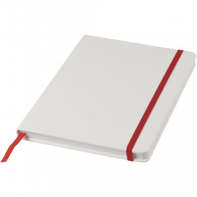 Image of Promotional A5 Spectrum Notebook, White With Coloured Strap