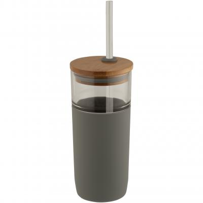 Image of Promotional Arlo Glass Tumbler With Soft Grey Grip And Bamboo Lid