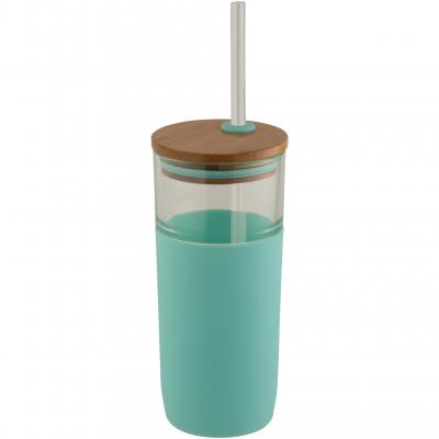 Image of Branded  Arlo Glass Tumbler With Mint Green Grip And Bamboo Lid