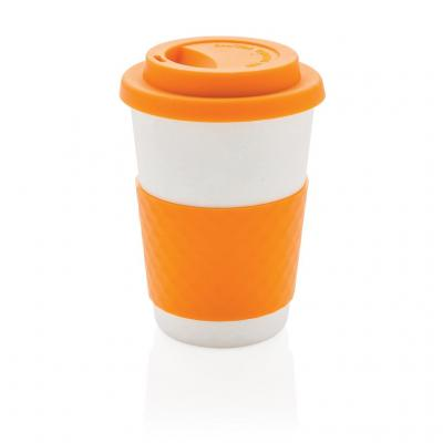 Image of Printed Takeaway Coffee Cup, Bamboo Mug, Orange
