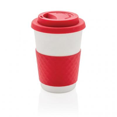 Image of Promotional Takeaway Coffee Cup, Bamboo Mug, Red