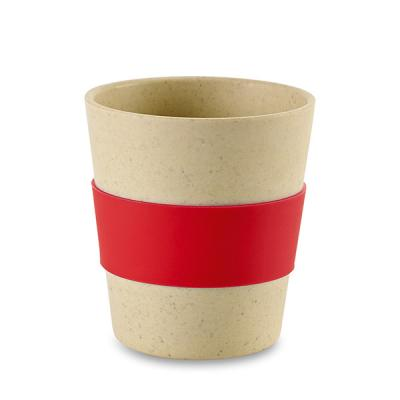 Image of Promotional Bamboo And Rice Fibre Reusable Cup With Red Sleeve