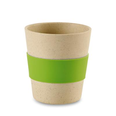 Image of Printed Bamboo and Rice Fibre Reusable Cup With Green silicone Sleeve