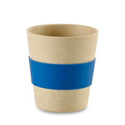 Image of Branded Bamboo and Rice Fibre Reusable Cup With Blue Silicone Sleeve