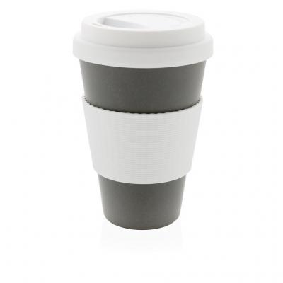 Image of Printed Eco Bamboo Fibre Cup 430ml, Grey
