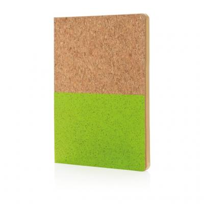 Image of Promotional Eco Cork A5 Notebook With Recycled Lined Paper, Green