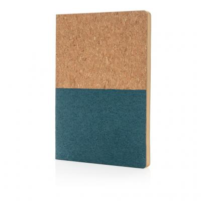 Image of Branded Eco Cork A5 Notebook With Recycled Lined Paper, Blue