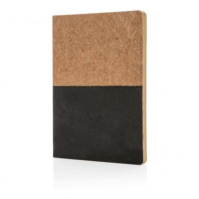 Image of Printed Eco Cork A5 Notebook With Recycled Lined Paper, Black